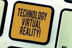 Texto da escrita que escreve a tecnologia a realidade virtual Teclado gerado por computador interativo da experiência do signific fotografia de stock royalty free