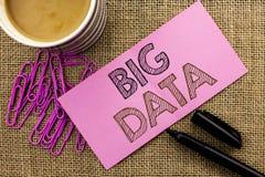 Texto da escrita que redige dados grandes Conceito que significa o armazenamento enorme do base de dados de Bigdata do Cyberspace foto de stock royalty free