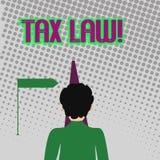 Texto da escrita que redige a lei fiscal Avaliação governamental do significado do conceito em cima de enfrentar do homem do valo ilustração stock