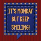Texto da escrita S segunda-feira mas mantém-se sorrir O significado do conceito tem um bom começo do quadrado da motivação do dia ilustração do vetor