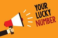 Texto da escrita seu Lucky Number Significado do conceito que acredita no aviso alarming ann do símbolo do casino da possibilidad ilustração stock