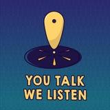Texto da escrita você fala-nos escuta Conceito que significa a conversação inspirador de uma comunicação em dois sentidos ilustração royalty free