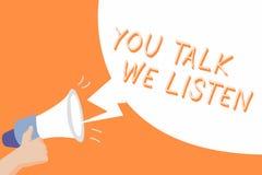 Texto da escrita você fala-nos escuta Conceito que significa a conversação inspirador de uma comunicação em dois sentidos ilustração do vetor