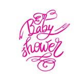 Texto da festa do bebê para a menina Convite feito sob encomenda do rosa da rotulação para a chegada do bebê ilustração stock