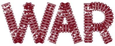 Texto da guerra com as letras feitas de trilhas do tanque Imagem de Stock Royalty Free