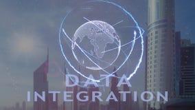 Texto da integração de dados com holograma 3d da terra do planeta contra o contexto da metrópole moderna