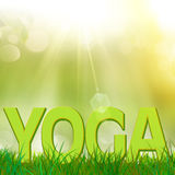Texto da ioga em um campo de grama Fotos de Stock
