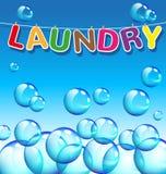 Texto da lavanderia e fundo das bolhas Fotografia de Stock Royalty Free