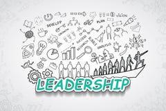 Texto da liderança, com ideia criativa do plano da estratégia do sucesso comercial das cartas e dos gráficos do desenho, te do pr Foto de Stock Royalty Free