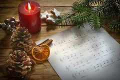 Texto da música com uma música de natal velha Fotos de Stock
