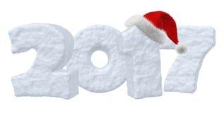 Texto da neve do ano 2017 novo feliz com chapéu vermelho Fotos de Stock