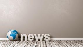 Texto da notícia e globo da terra no assoalho contra a parede Fotografia de Stock