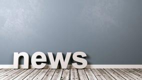 Texto da notícia no assoalho de madeira contra a parede Imagens de Stock Royalty Free