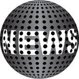 Texto da NOTÍCIA na esfera metálica Imagem de Stock