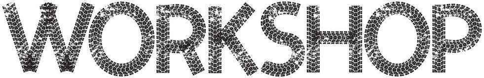 Texto da oficina com as letras feitas das trilhas do pneu da motocicleta Imagem de Stock