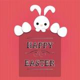Texto da Páscoa com coelho e ovos ilustração do vetor