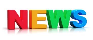 Texto da palavra da notícia da cor 3D Fotografia de Stock