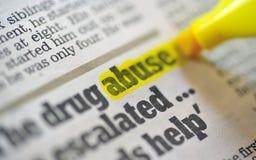 Texto da palavra do abuso de drogas imagem de stock