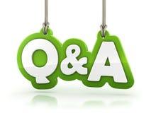 Texto da palavra do verde do Q&A das perguntas e resposta na parte traseira do branco ilustração royalty free
