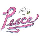 Texto da paz com pomba Fotos de Stock Royalty Free