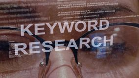 Texto da pesquisa da palavra-chave no fundo do colaborador fêmea filme