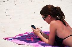 Texto da praia Imagens de Stock
