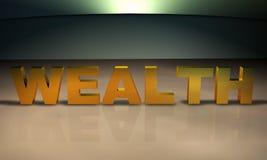 Texto da riqueza 3D no ouro Fotos de Stock