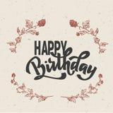Texto da rotulação da mão do feliz aniversario, caligrafia da tinta da escova, tipo projeto do vetor, isolado no fundo branco ilustração royalty free