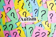 Texto da síndrome do autismo em notas pegajosas coloridas na perspectiva dos pontos de interrogação Fotos de Stock Royalty Free