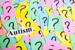 Texto da síndrome do autismo em notas pegajosas coloridas na perspectiva dos pontos de interrogação Foto de Stock Royalty Free