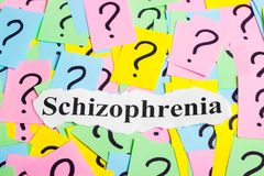 Texto da síndrome da esquizofrenia em notas pegajosas coloridas na perspectiva dos pontos de interrogação Imagens de Stock Royalty Free