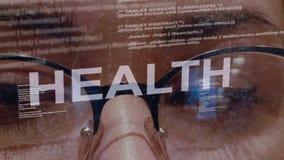 Texto da saúde no fundo do colaborador fêmea filme