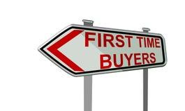 Texto da tela do portátil dos buyeres da primeira vez - rendição 3d Foto de Stock Royalty Free