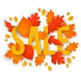 Texto da venda com as folhas coloridas do outono Imagens de Stock