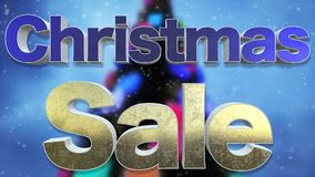 Texto da venda 3D do Natal Sagacidade bonita do efeito do metal e do texto da neve ilustração stock