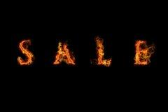 Texto da venda da flama ilustração stock