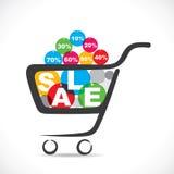 Texto da venda no carrinho de compras Foto de Stock Royalty Free
