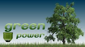 Texto das energias verdes e árvore - conceito da ecologia Fotos de Stock