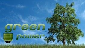 Texto das energias verdes e árvore - conceito da ecologia Fotografia de Stock Royalty Free