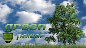Texto das energias verdes e árvore - conceito da ecologia Imagens de Stock Royalty Free