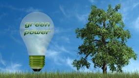 Texto das energias verdes na ampola e na árvore - conceito da ecologia Fotos de Stock Royalty Free