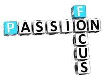 texto das palavras cruzadas da paixão do foco 3D Imagem de Stock