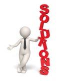 Texto das soluções - homem de negócio 3d Imagem de Stock