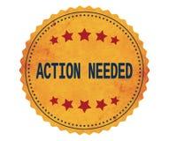 Texto de ACTION-NEEDED, en sello de la etiqueta engomada del amarillo del vintage Imagen de archivo libre de regalías