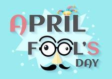 Texto de April Fools Day y vecto divertido de los vidrios Imagenes de archivo