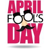 Texto de April Fools Day y vector divertido de los vidrios EPS 10 stock de ilustración