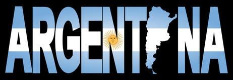 Texto de Argentina com mapa Imagem de Stock Royalty Free