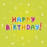 Texto de Baloon Tarjeta de felicitación del cumpleaños Imagenes de archivo