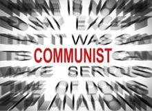 Texto de Blured con el foco en COMUNISTA fotografía de archivo