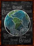 Texto de Brasil do quadro-negro do esboço da terra do futebol Foto de Stock